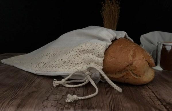 Vrecúško na chlieb z ľanového plátna