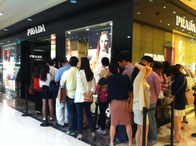 This line full of Korean people wanting to buy Prada is one example of conversations I'm happy not to eavesdrop on.