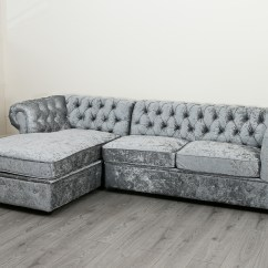 Chesterfield Sofa Bed Grey Velvet Funky Sofas And Chairs Empire Corner In Silver Crushed