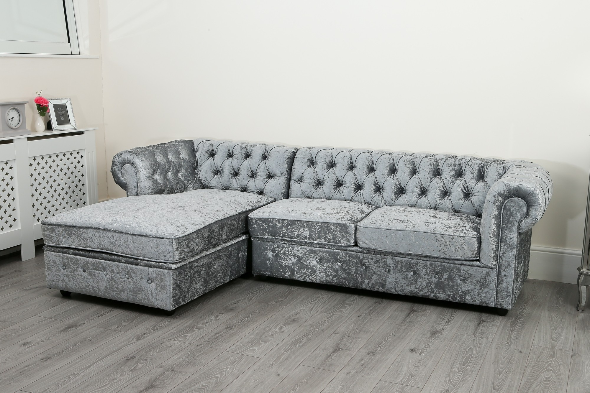 crushed velvet grey sofa bed stretch covers for cushions uk empire chesterfield corner in silver