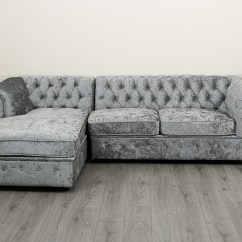 Crushed Velvet Grey Sofa Bed Thomasville Metro Leather Empire Chesterfield Corner In Silver