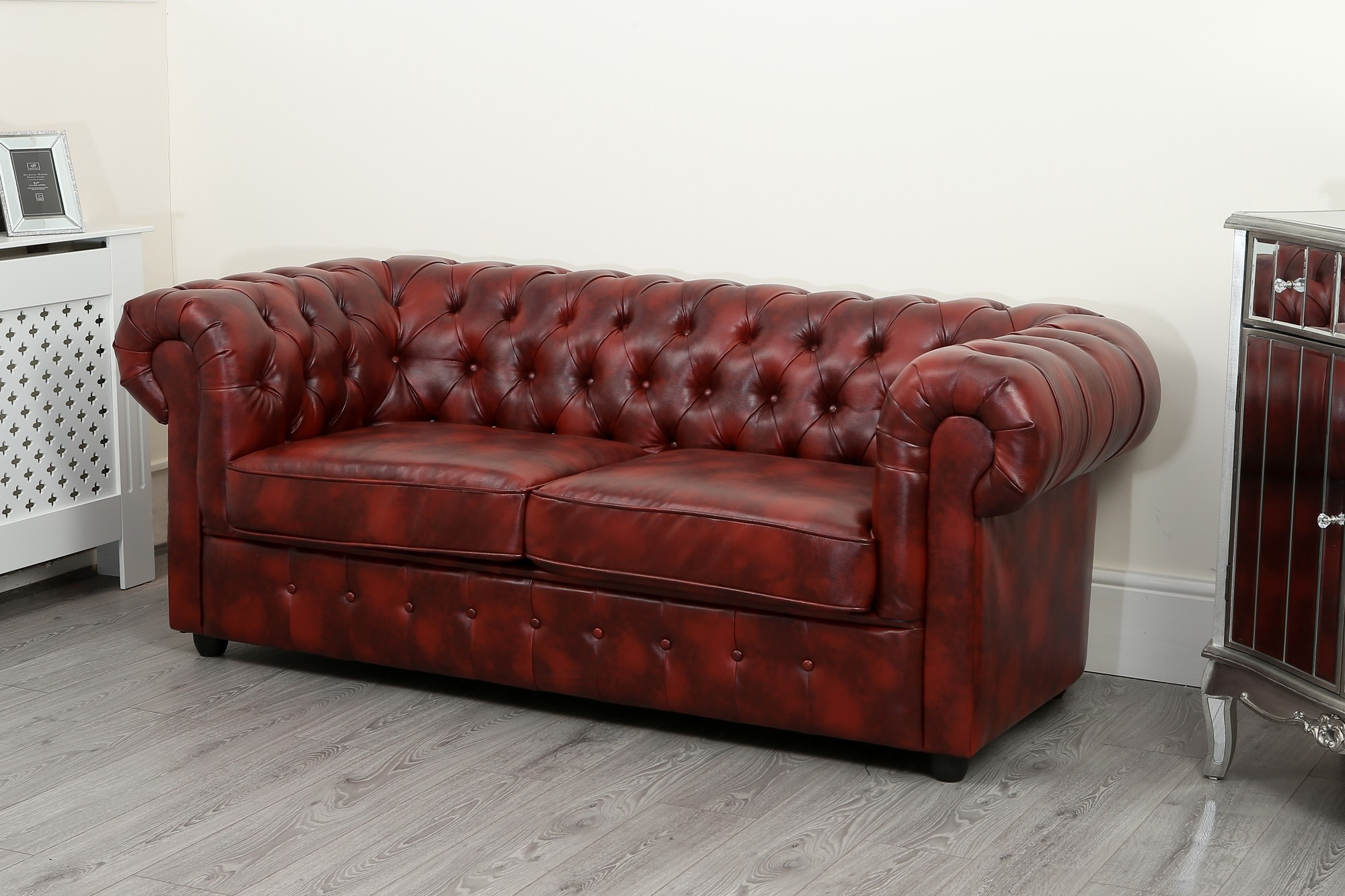 oxblood red chesterfield sofa can i reupholster my in leather 3 seater abreo home furniture