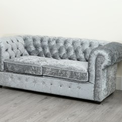 Crushed Velvet Grey Sofa Bed Charcoal Gray Tufted Empire Chesterfield 3 Seater Abreo