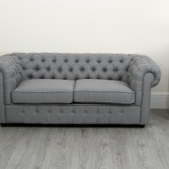 Chesterfield Pull Out Sofa Bed Turquoise Leather Uk Empire Grey Linen 3 Seater Abreo