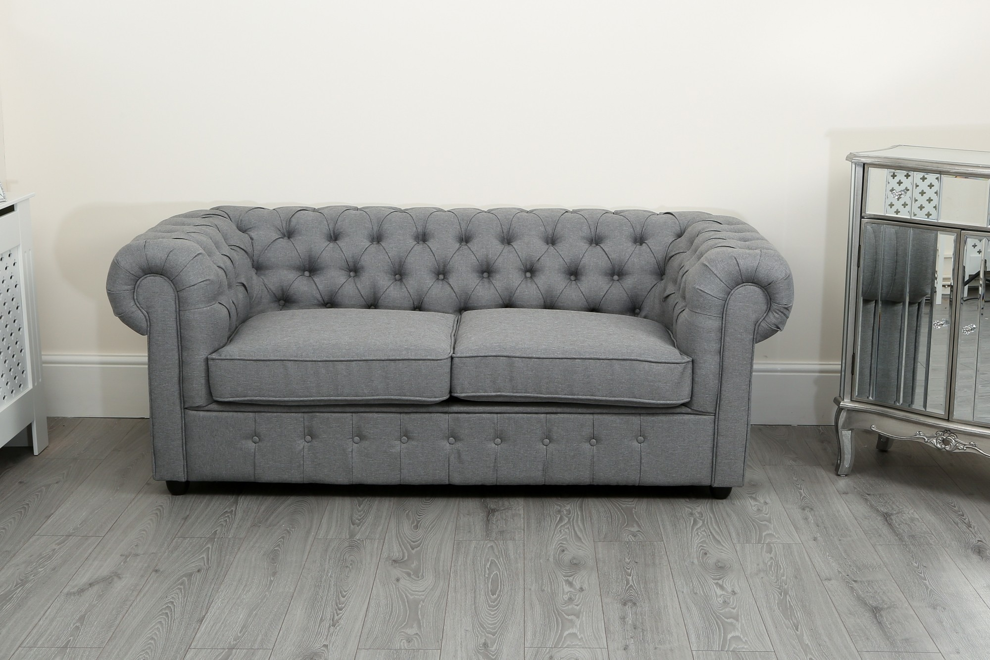 gray linen chesterfield sofa ethan allen recliner sofas suite 3 2 and 1 seater in grey