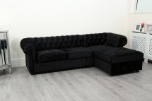 Chesterfield Corner Sofa Bed Settee Faux Leather Crushed Year Of