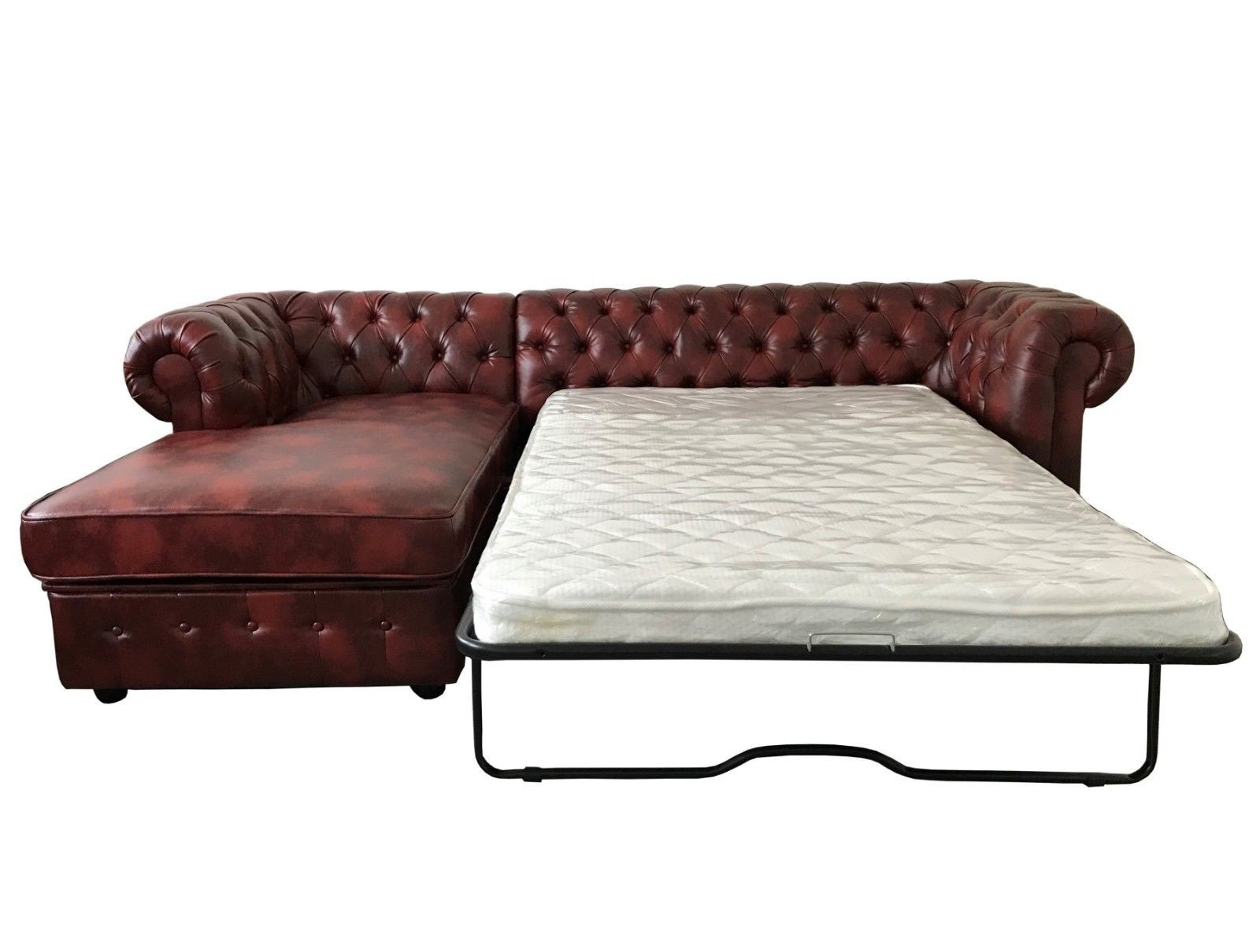oxblood red chesterfield sofa wedge pillow empire left hand bed sofas