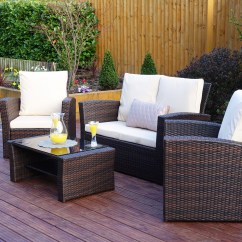 Rattan 4 Piece Sofa Set Black Como Hacer Cama Para Perros Algarve For Patios Conservatories