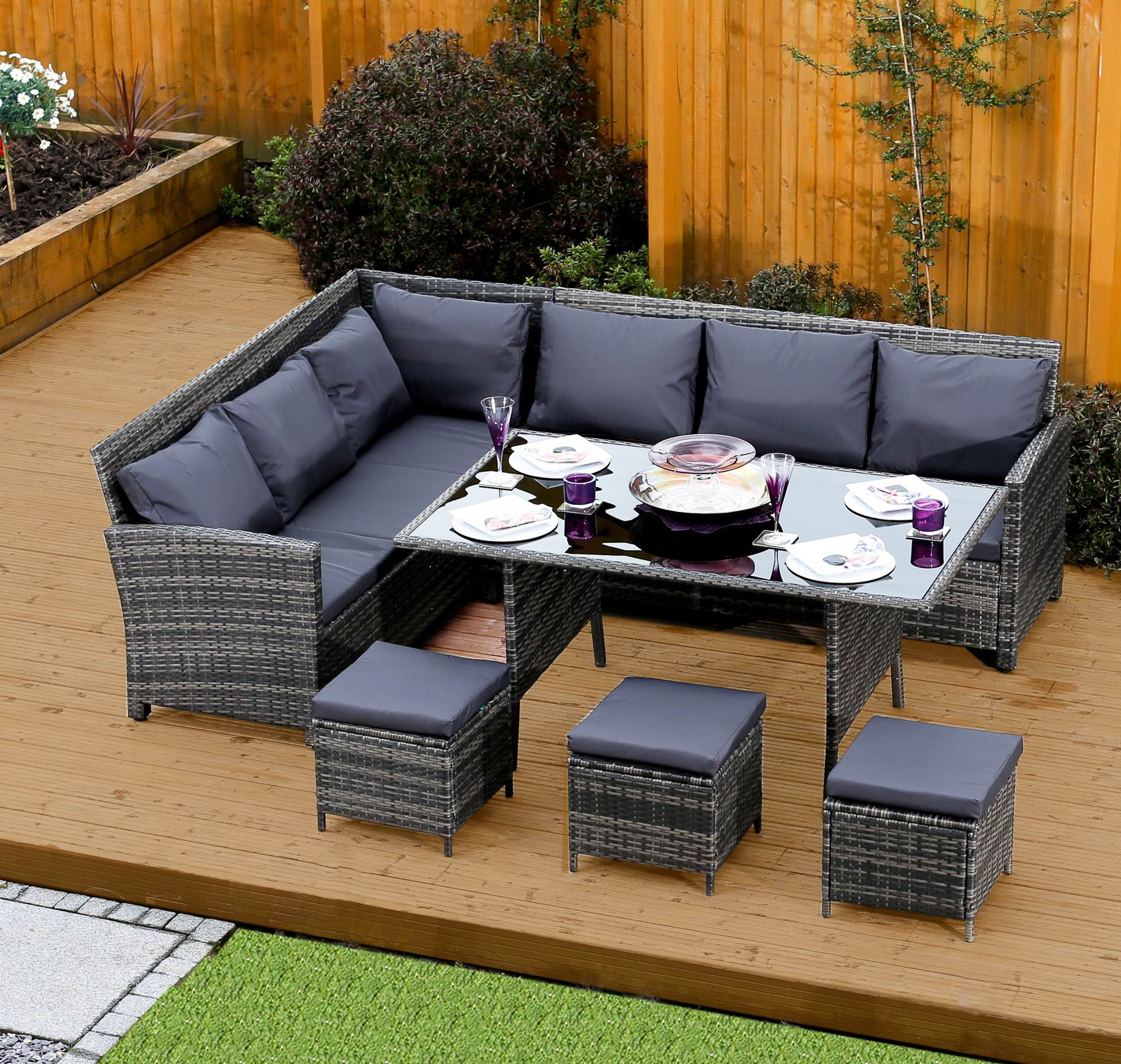Rattan 9 Seater Corner Sofa 9 Seater Rattan Corner Garden Sofa And Dining Table Set In
