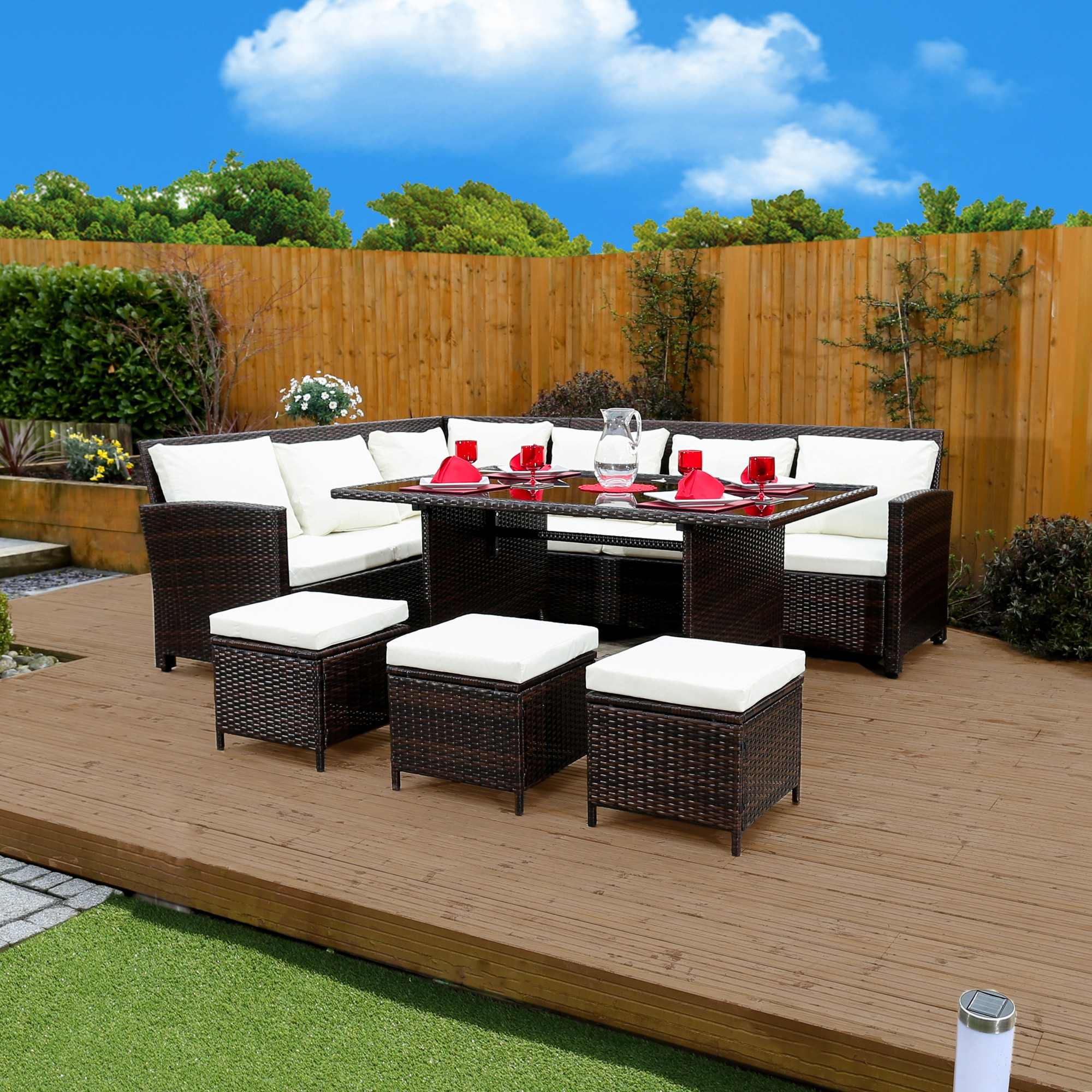 garden corner sofa with dining table ashley recliner cable brown 9 seat rattan set from abreo