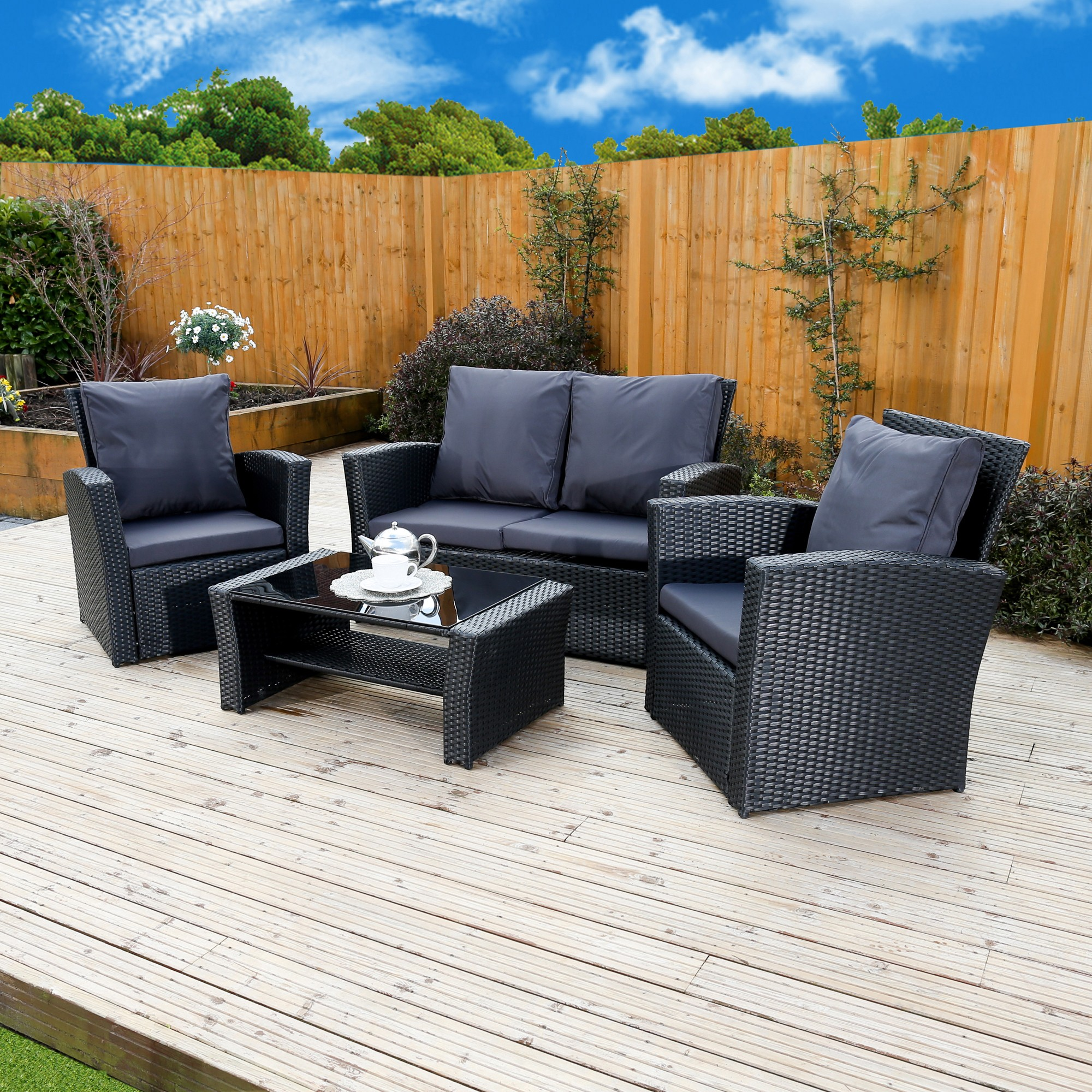 algarve leather sofa and loveseat set bed boards ie 4 piece rattan for patios conservatories
