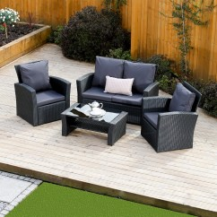 2 Piece Brown Leather Sofa Fenton Bed 4 Algarve Rattan Set For Patios, Conservatories ...