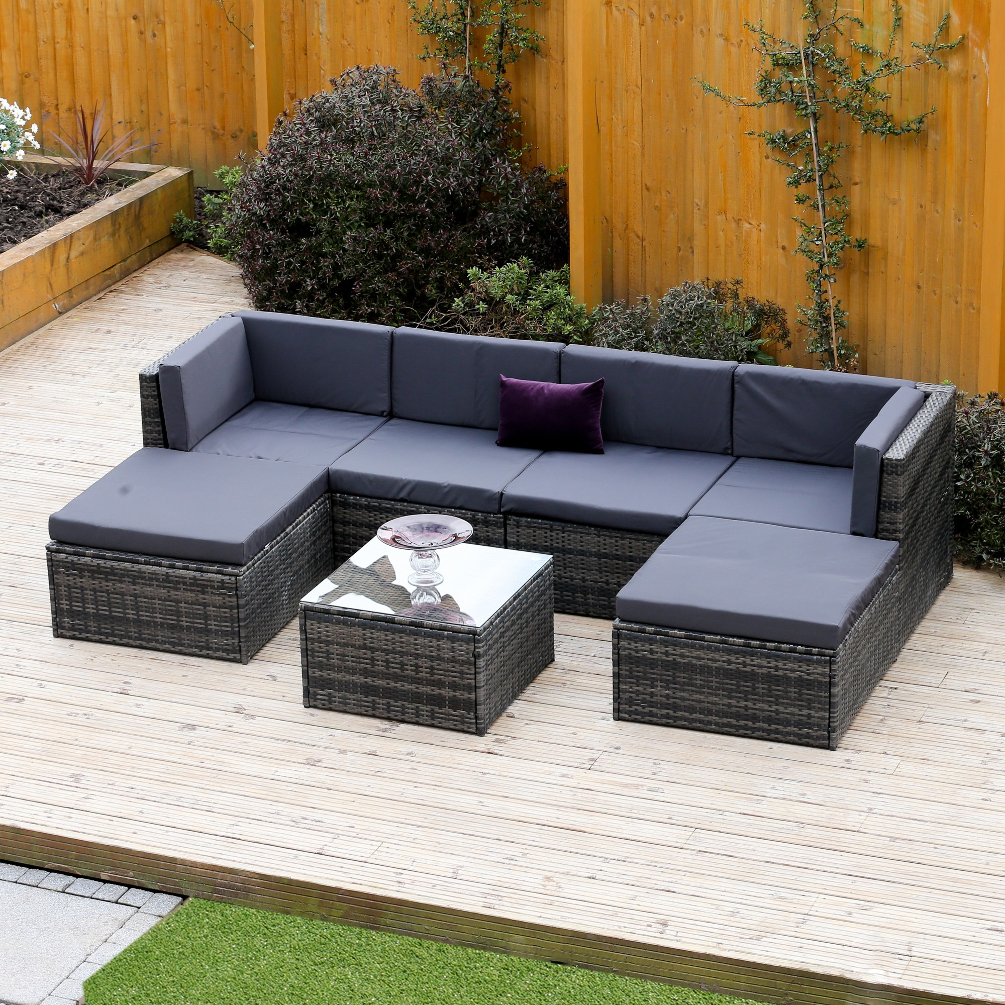wicker sofa sets uk beds under 200 7 piece acapulco modular rattan corner set in dark mixed grey more views