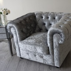 Velvet Chesterfield Sofa Suite Bash Juego Empire Grey Silver Crushed Abreo