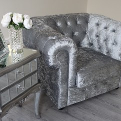 Crushed Velvet Grey Sofa Bed How To Clean A Fabric At Home Empire Silver Chesterfield Abreo