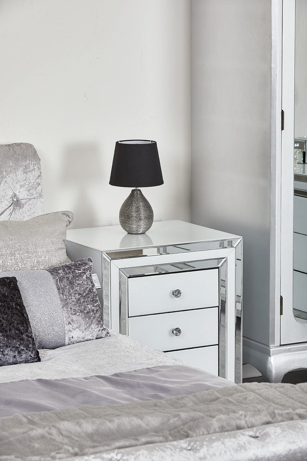 white gloss glass mirror bedside 3 drawer Abreo Home Furniture