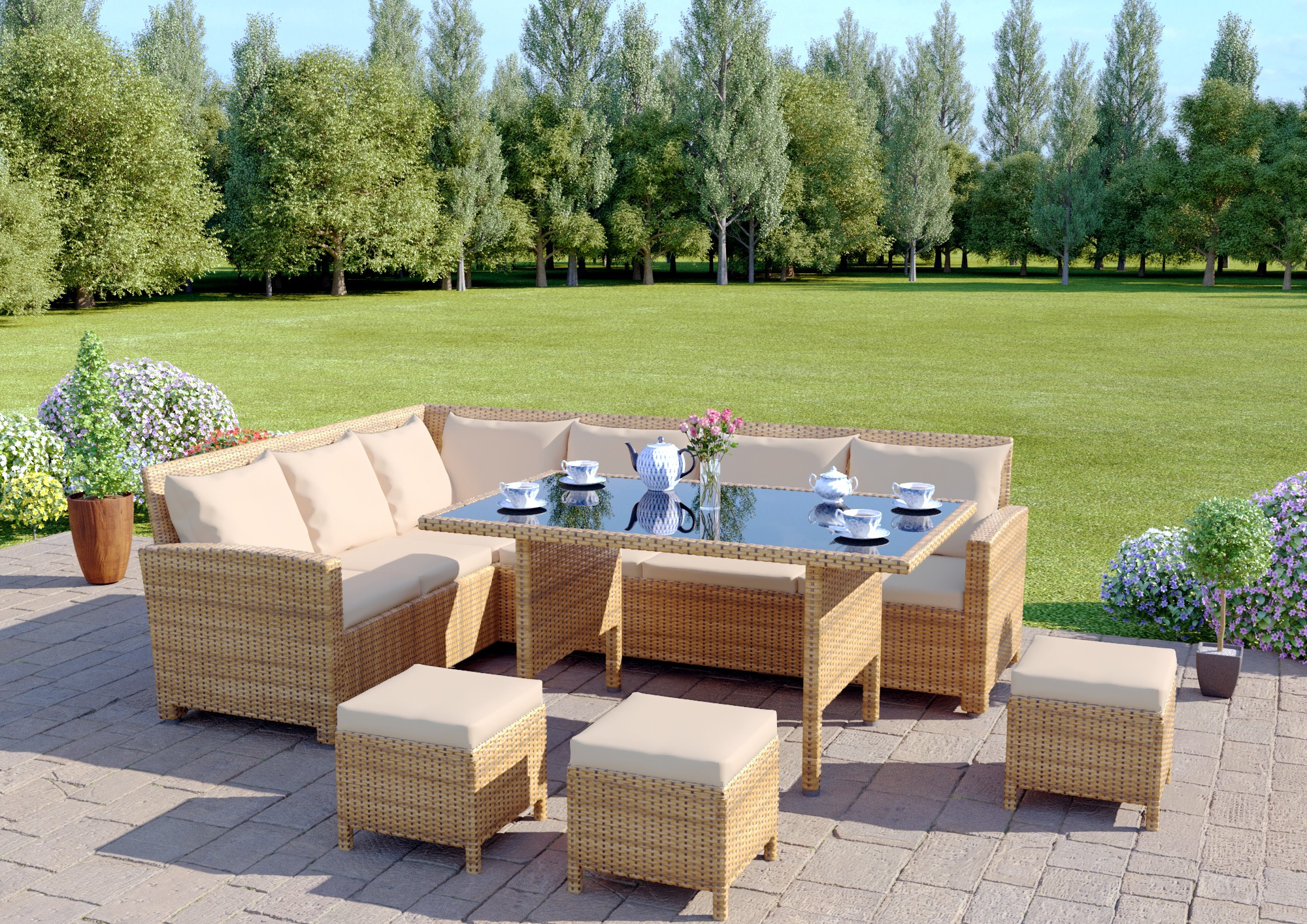 Patio Furniture Table And Chairs 9 Seater Rattan Corner Garden Sofa Dining Table Set In Light Brown With Light Cushions
