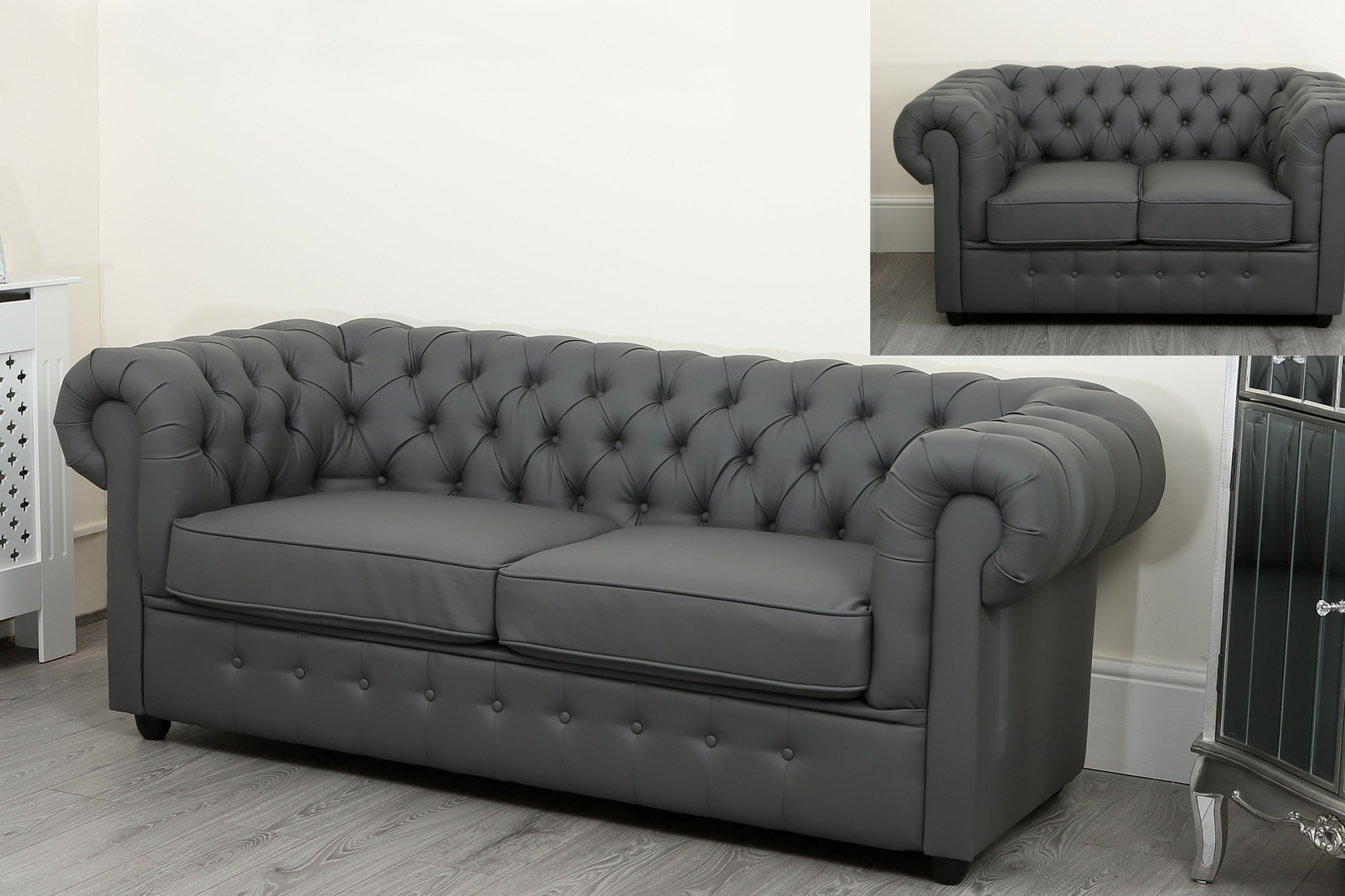 faux leather chesterfield sofa sleeper tight back empire grey suite abreo