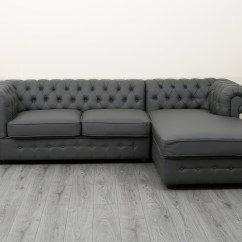 Grey Leather Chesterfield Sofa Sofas For Bedroom Empire Corner In Pu Abreo