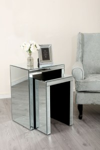 Mirrored Nest of Tables Abreo Home Furniture