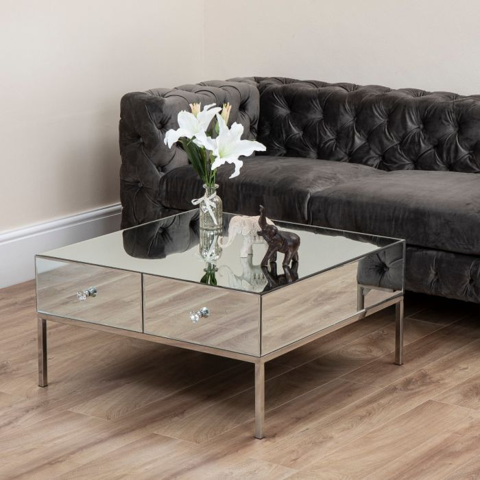 harper mirror 2 drawer coffee table