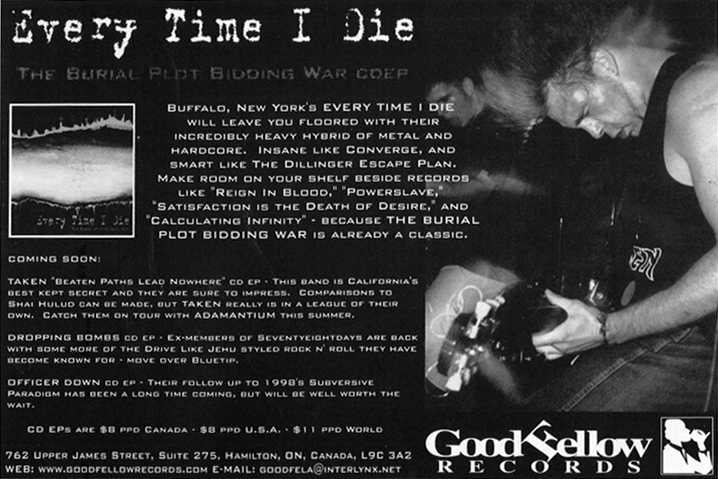 Goodfellow Records ad in Full Contact Magazine announcing the Dropping Bombs EP.