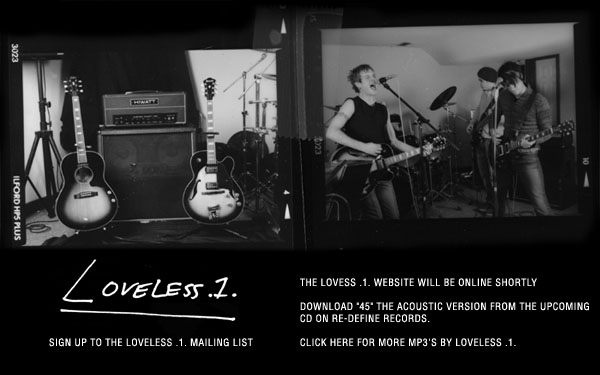 Loveless .1. website ad promoting upcoming CD on Re-Define Records, circa late 2001