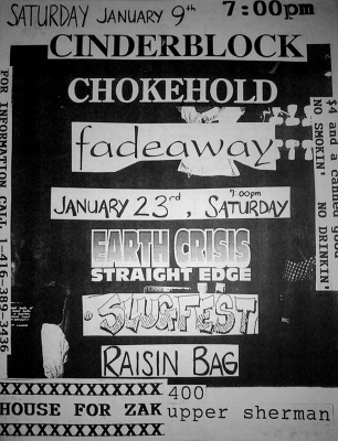 The only Firestorm show, January, 1994. With Earth Crisis, Slugfest and Raisin Bag.