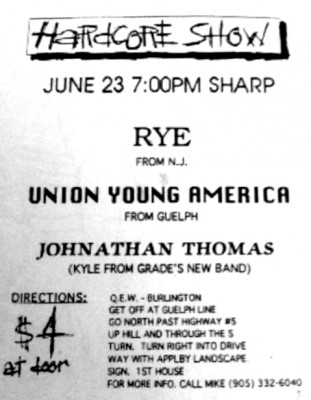 Workshop Records concert featuring Jonathan Thomas, Union Young America and Rye, June 23rd 1995
