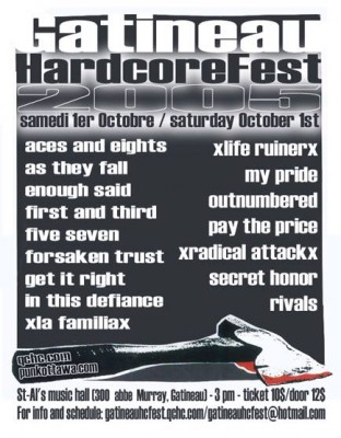 Gatineau Hardcore Fest, Saturday October 1st 2005, St Al's Music Hall.