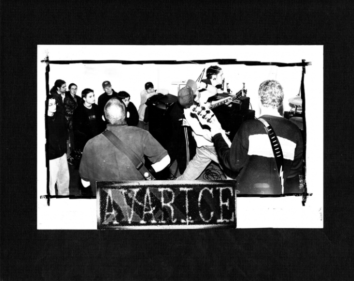 An Avarice sticker, made by Redstar Records
