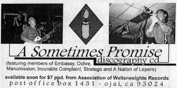 Add from HeartattaCk advertising the A Sometimes Promise discography CD, 1998