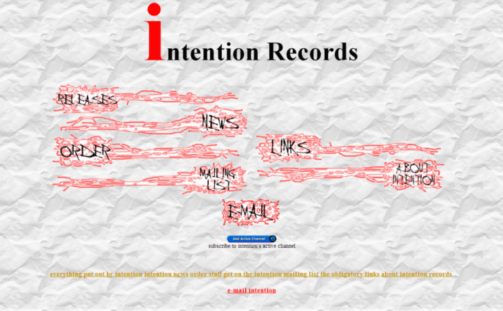 Intention Records website, circa 1997