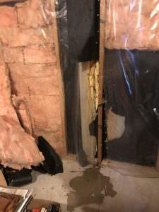 Water penetrates previous repairs just days before basement renovations begin.