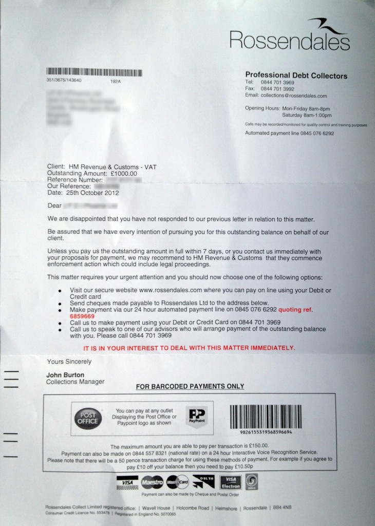 Rossendales - premature debt collection letter on behalf of HMRC