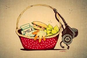 gasmask in basket