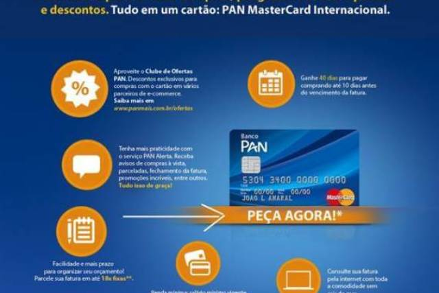 Como fazer o cartão de crédito PAN Mastercard Internacional