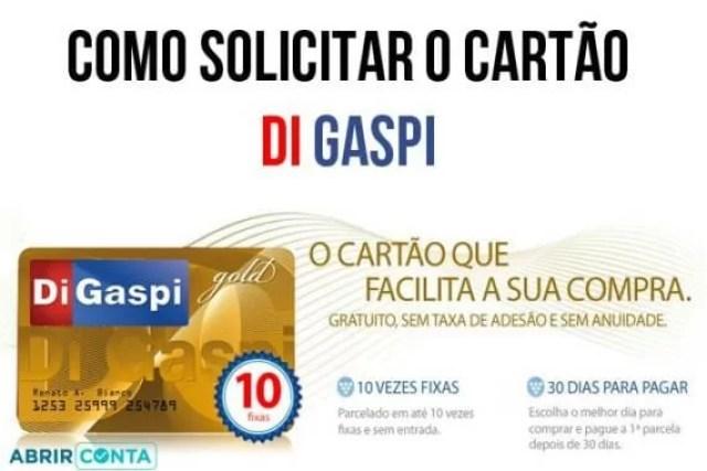 Como fazer cartão de crédito Di Gaspi