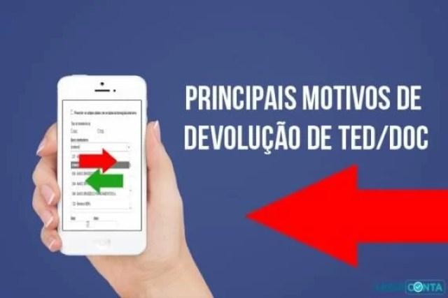 Principais motivos de devolução de TED/DOC