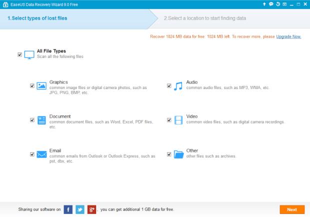 Data Recovery Wizard Free 9.8 Screenshot 1