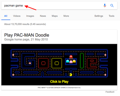 How To Play Games On Google Search pacman game