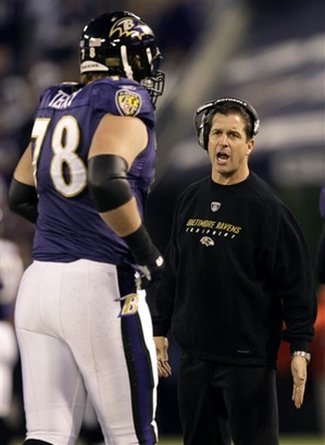 Adam Terry (78) of the Baltimore Ravens  comes off the field  having  just scored  a touchdown against the  Jacksonville Jaguars  ......