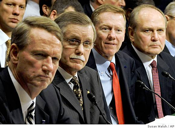 GM Chairman Rick Waggoner, UAW President  Ron Gettelfinger,  Ford  Chairman Alan  Mullally  and Chrysler  CEO & President  Bob  Nardelli seated  listen  to  members  of   the  House Ways  and  Means  Committee  on Capitol  Hill , Washington  DC.,     picture  appears  courtesy  of  getty  images/  Rod  Challenger ..................