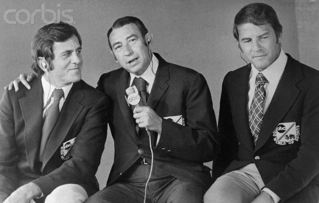 Don  Meredith  seen  here  with  Cosell  (center) and  Frank  Gifford.  The  three  would  become  the  main anchors  for  ABC's  Monday  Night  Football.    The  show  came  into  being  in  1970.