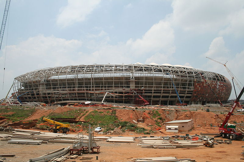 Soccer  city   in  Johannesburg,  South  Africa.  One of   thirteen  venues  that'll  be   used  to  host   the  games  of the  2010  World  Cup  being  held  in  South  Africa  ,  next  June.    picture  appears  courtesy of   getty  images/   ....................
