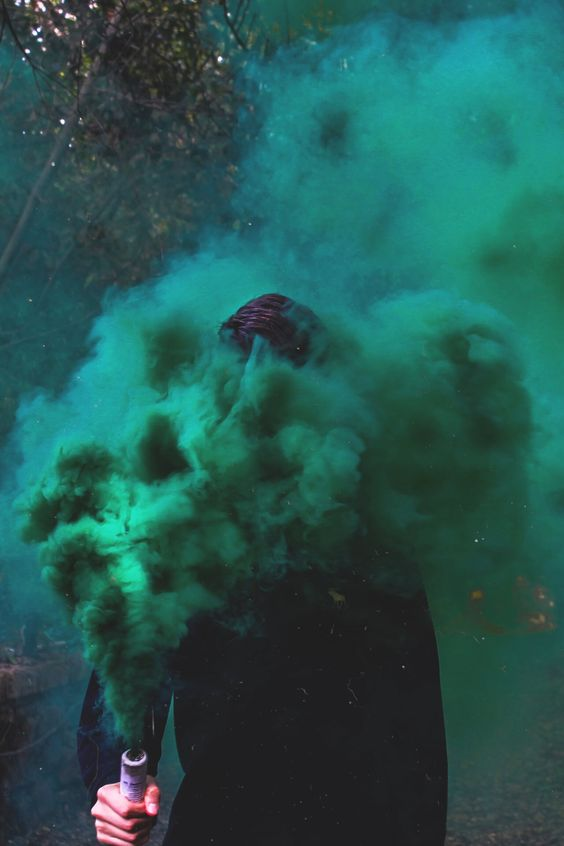 green Smoke Bomb Photography