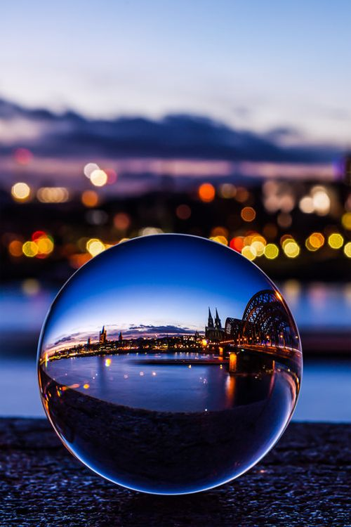 Clear Crystal Ball blue landscape