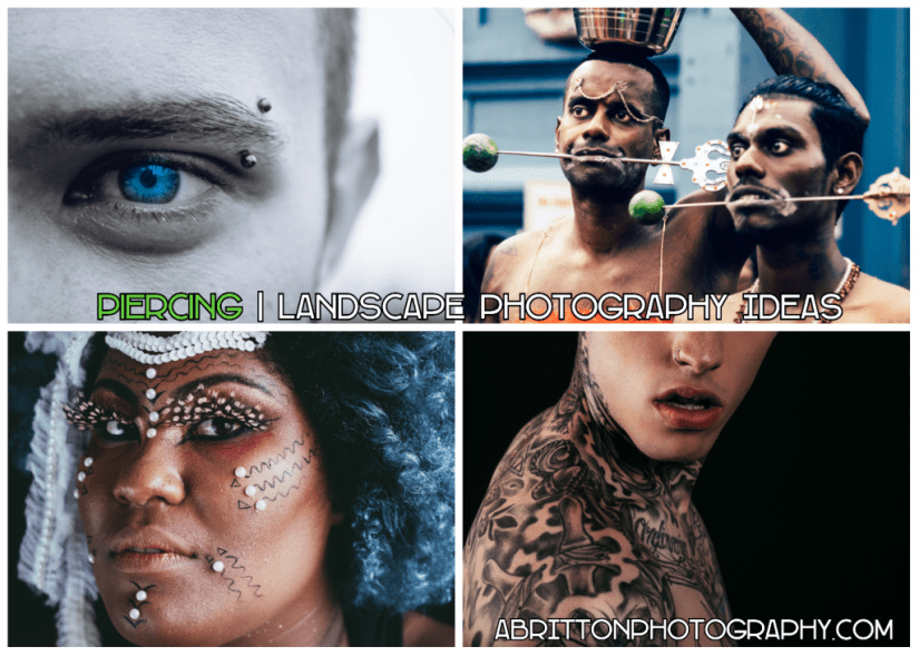 tattoo and piercing landscape photography ideas