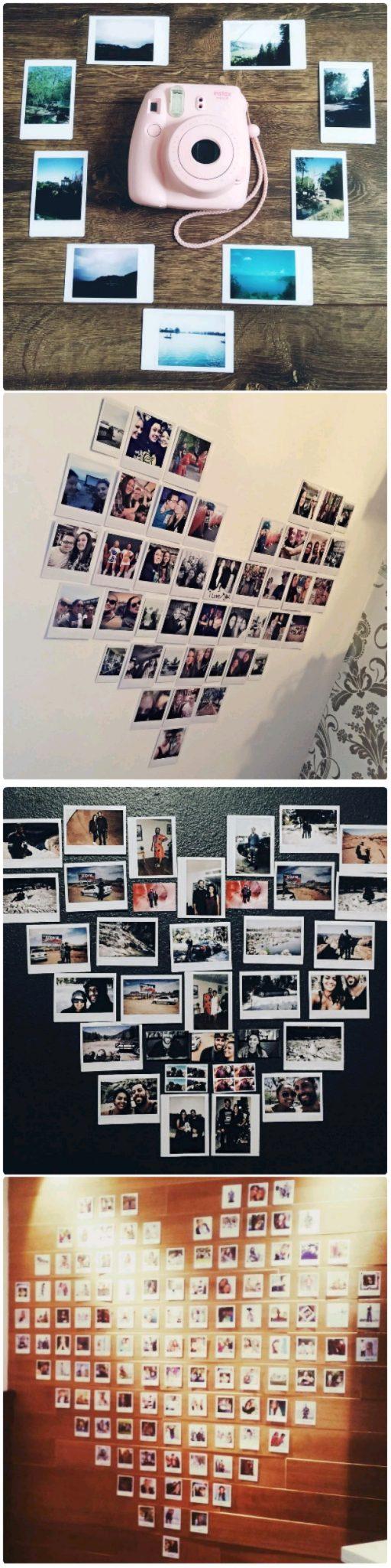 polaroid heart collage