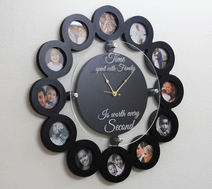photo display ideas wall clocks